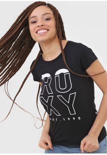 Camiseta Roxy Lettering Preta