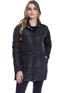 Jaqueta Sobretudo Acolchoada Carbella Inverno Frio Detalhe Costuras Preto