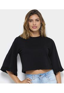 Camiseta My Favorite Thing (S) Babado Feminina - Feminino-Preto