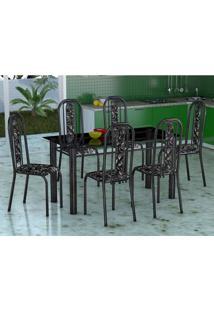 Conjunto De Mesa Com 6 Cadeiras Granada Preto Floral Vd