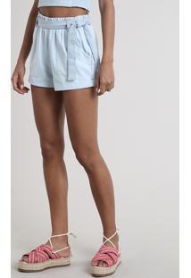 Short Jeans Feminino Clochard Com Faixa Para Amarrar Azul Claro