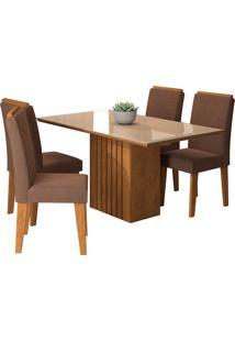 Conjunto De Mesa Com 4 Cadeiras Para Sala De Jantar 130X80 Ana/Tais-Cimol - Savana / Off White / Chocolate