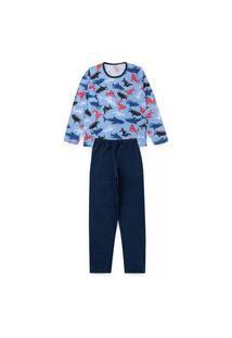 Pijama Juvenil Tubaráo Azul 2825 - Kappes