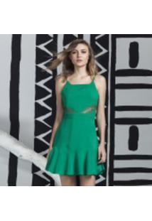 Vestido Com Alças E Babado Verde Hip Green - Lez A Lez