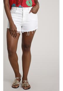 Short De Sarja Feminino Salinas Cintura Super Alta Com Bordado De Gaivota Off White