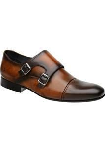 Sapato Monk Masculino Malbork Em Couro 60434 - Masculino-Caramelo