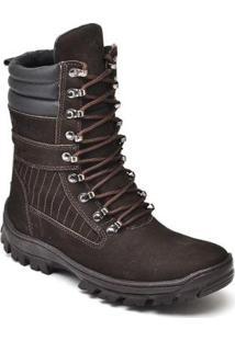 Bota Fk Shoes Militar Cano Alto Couro Masculina - Masculino-Café