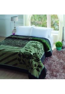 Cobertor Casal Microfibra 1 Peça Raschel Tuily Jolitex Verde