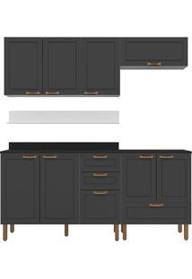 Cozinha Modulada 6 Peças Com Tampo E Nevada 5914Tp-Multimóveis - Branco Premium / Grafite Premium