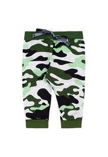 Calça Bebê Masculina Moletom Jogger Verde Camuflada Com Punho (Rn/P/M/G) - Fantoni - Tamanho P - Verde,Mescla,Preto