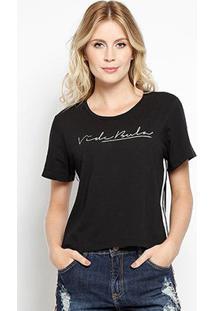 Camiseta Vide Bula Básica Feminina - Feminino-Preto