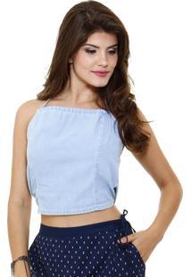 Blusa Cropped Em Jeans Modelo Frente Única Marisa