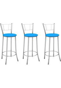 Kit 3 Banquetas Altas Com Encosto Maior Cromado E Assento Azul - Marcheli