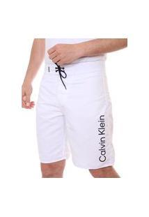 Bermuda Calvin Klein Swimwear Masculina D'Água Vertical Logo Branca