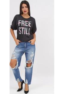 "Camiseta ""Free Still""- Cinza Escuro & Branca- Tritonforum"