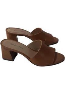 Tamanco Sapatos E Botas Couro Salto Bloco Feminino - Feminino-Marrom