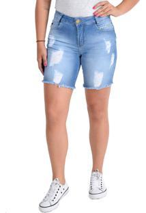 Bermuda Rosa K Ciclista Unidenim Azul Jeans