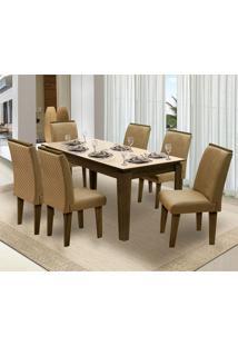 Mesa Para Sala De Jantar Saint Michel Com 6 Cadeiras – Dobuê Movelaria - Castanho / Bege / Kaki