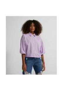 Camisa Manga Longa Bufante Em Laise | Blue Steel | Roxo | P