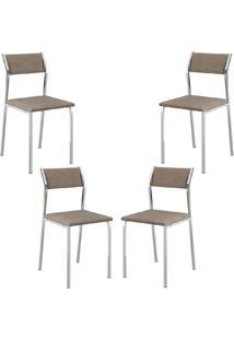 Conjunto 4 Cadeiras Tubo Cromado Tecido Bege Carraro
