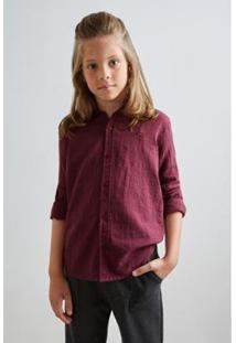 Camisa Pf Hame Inv19 Reserva Mini Masculina Infantil - Masculino-Bordô