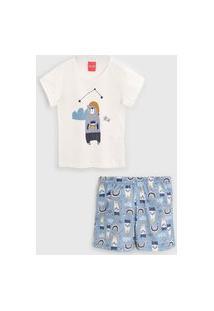Pijama Tricae Curto Infantil Urso Off-White/Azul
