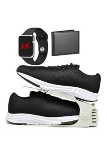 Kit Tênis Esportivo Caminhada Com Organizador, Carteira E Relógio Led Silver Dubuy 1108Db Preto