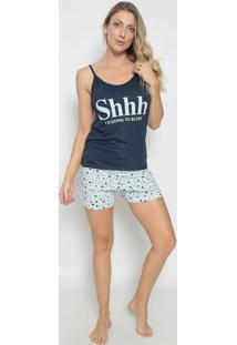 Short Doll Estrelas- Azul Marinho & Brancozulai