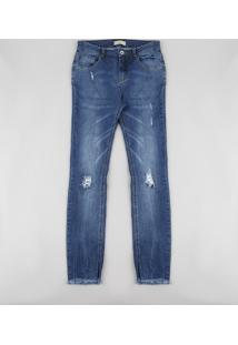Calça Jeans Juvenil Skinny Com Puídos Azul Médio