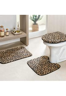 Jogo Banheiro Dourados Enxovais Safari 03 Peças Leopardo