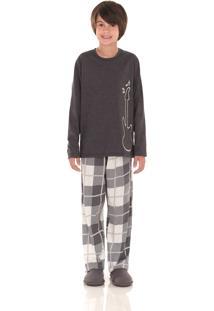 Pijama Longo Inspirate Family Chess Bege