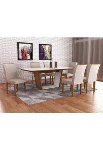 Conjunto Sala De Jantar Mesa Sofia Tampo Mdf/Vidro 6 Cadeiras Lunara Rufato Imbuia/Branco/Veludo