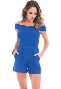 Macacão Floriá Curto - Feminino-Azul