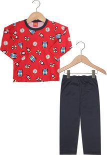 Pijama Kyly Longo Menino Vermelho