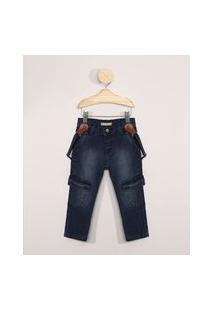 Calça Jeans Infantil Cargo Com Suspensório Azul Médio
