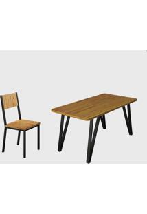 Conjunto 6 Cadeiras E Tampo Eucalipto Preto Fosco Madmelos - Bege - Dafiti