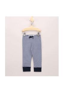 Calça Infantil Básica Listrada Com Cordão Off White