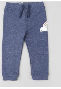 Calça Infantil Com Estampa De Arco-Íris Em Moletom Azul Marinho