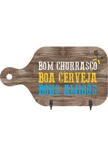 Porta Chaves Tábua Bom Churrasco- Marrom Claro & Azul