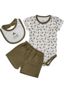 Body Curto, Babador E Short Para Bebê Em Malha Urso Polar - Anjos Baby