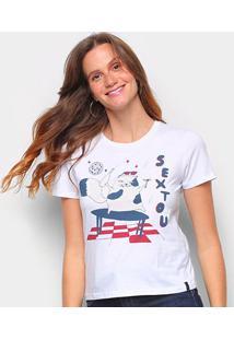 Camiseta T-Shirt Cantão Babylook Sextou Feminina - Feminino-Branco