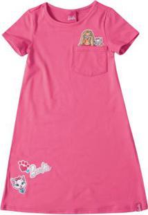 Vestido Rosa Evasê Barbie®