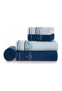 Jogo De Toalhas De Banho Com 05 Peças Melissa Azul Naval - Karsten