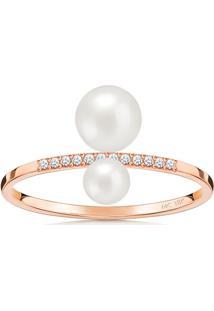 Anel Em Ouro Rosé 18K Com Diamante, Pérola 16