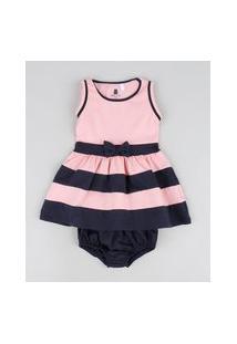 Vestido Infantil Listrado Com Laço Regata Rosa