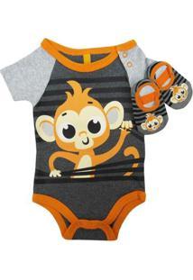 Body Puket Bebê Manga Curta + Sapatilha Puket Masculino - Masculino-Cinza