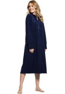 Robe Plush Buckle Zíper Feminino - Feminino-Marinho