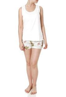 Pijama Curto Mundo Do Sono Feminino - Feminino-Off White