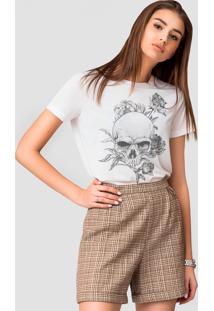 Camiseta Basica Joss Caveira Florida Branca