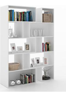 Estante Para Livros Plenty 8 Prateleiras 700007 Branco - Manfroi